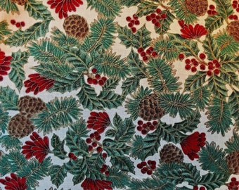"Christmas Greens Pine Cones Red Berries Handmade Pair Pillow Covers 16"" x 16"""