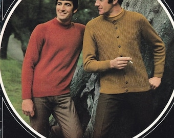 ON SALE Patons Knitting Pattern No 912 for Men, Man Talk in  Bluebell - Vintage 1970's Cardigans, Jackets, Jumpers, Sweaters