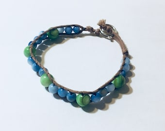 Grass and Sky Beaded Bracelet