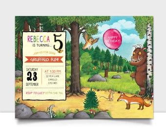 Gruffalo invitation kit, Birthday invites, bunting, labels, cupcake toppers, favour tags and party printables. Personalised Digital Download