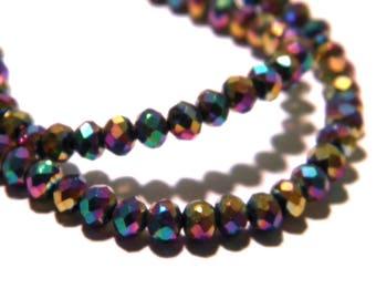 35 beads 4 x 3 mm pumpkin faceted glass galvano plate-Rainbow sky bluish iridescent - F131-5