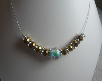 Rose collection - Harmony - Gold Crystal turquoise bead and flower Bead Necklace