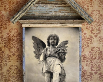 On Reserve. Guardian Angel. Original Encaustic Photo Mixed Media Art. Angel Wings. Angel Assemblage. SMALL BLESSING by Mikel Robinson
