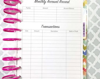 Bank Account, Monthly Account, Debit Purchases, Check Register Inserts for Medium, Classic Happy Planner, Discbound Planner