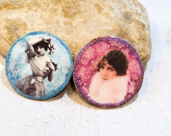 wooden cab for junkjournal or jewel, DIY cab, retro woman portrait, blue or purple, supply for DIY, component