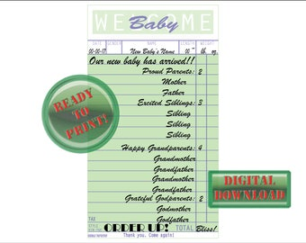 """Birth Announcement Diner Guest Check Cards Printable JPG Baby Stats Vintage Retro Diner Ephemera Weight Length Name Gender """"Welcome Baby"""""""