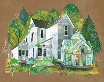 Overgrown Art Print | Rustic Wall Art | Farmhouse Painting | Katie Daisy | 8x10 | 11x14