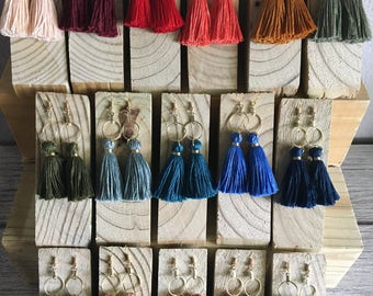 Hoop Tassel Earrings, Multiple Color Tassels, Multiple Hoop Sizes