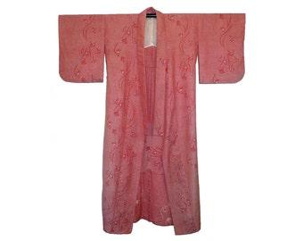 Vintage Men's Wool Kimono, Full Length Robe