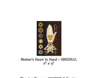 """Mother's Heart In Hand ~ Original ~ 6"""" x 9"""" Paper Pattern for PUNCH NEEDLE by The Art Tramp/HOOKER Collection"""