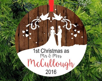 Our First Christmas as Mr & Mrs Ornament | Personalized Newlywed Gift | Lovebirds Ornament Couples Gift | Gift under 20 | CO-LBMM-3