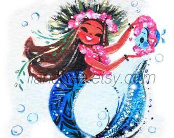 Maui Mermie fine art mini print
