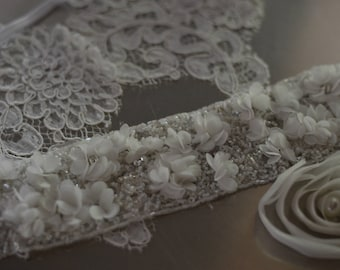 Square, lace ring cushion for wedding