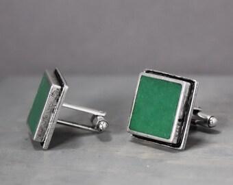 Malachite Cuff Links, Green Cuff Links, Gifts For Dad, Malachite Inlay Cuff Links, Gifts For Guys, Mens Accessories, Malachite CuffLinks,