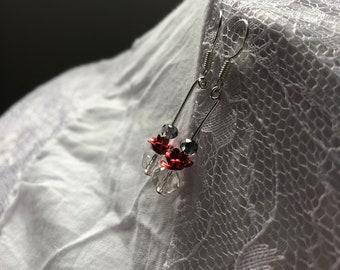 Rose and Czech Glass Earrings