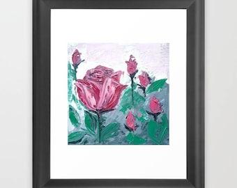 Art Print - 10''x10'' - Pink Crimson Rose Garden Painting - Mother's Day Gift