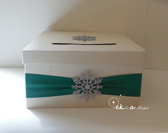Wedding Gift Card Box / Winter Wedding card box / wedding money box / 1 Tier card box (Ivory & Emerald) - winter wedding , snowflake