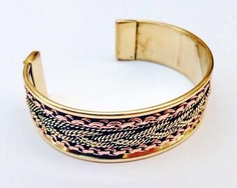 """3/4"""" Wide Copper Cuff Adjustable Bracelet Two-tone Chain Ornament"""