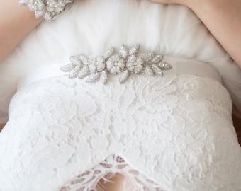 BRYONY Bridal Belt, Flower Wedding Sash, Wedding Leaf Ribbon Tie, Vintage Inspired Belt (#502)