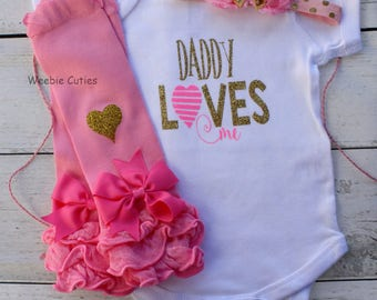 Baby Girl Clothes, Baby Girl Set, Baby Girl Fathers Day Outfit, Baby Girl Coming Home Hospital Outfit, Personalized Baby Girl Outfit