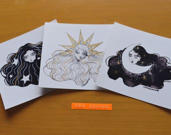 Set of 3 prints. Illustration of the sun, moon and stars.