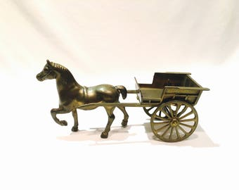 Large brass horse and cart, Farm horse, Brass horse, Western art, Brass statue, Brass figurine, Brass cart