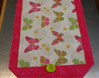 Pink Butterfly Table Runner