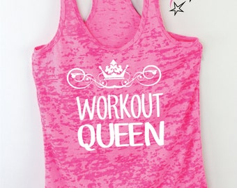 Workout Tank Womens Burnout Workout Queen  Funny Workout Tank Plus Size Fitness Tank Gym Top Running Tops  Exercise Top  Fitness Top