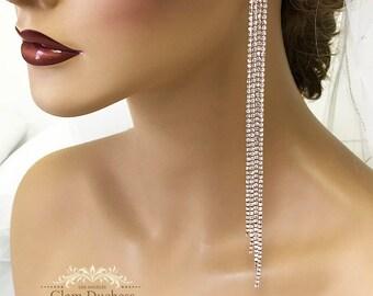 High Fashion Bridal earrings, Long drop wedding earrings, Rose Gold,Gold, Silver Bridesmaid crystal earrings, Ballroom Prom earrings