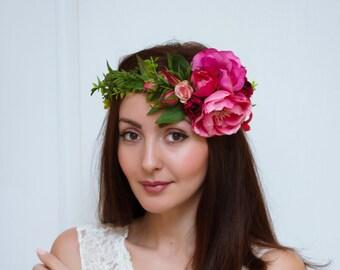 Peony flower crown Flower hair wreath Wedding floral crown Bridal flower crown Floral halo Girl flower crown Flower crown Flower headband