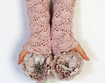 CROCHET PATTERN instant download - Dear Duchess Arm Warmers - pink lace hand cuffs tutorial chart PDF
