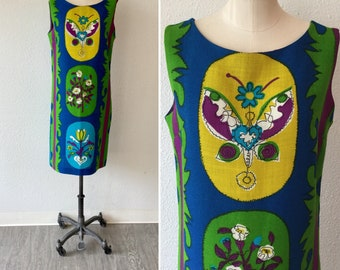 Charlotta 60s dress| Vintage abstract print shift dress| 1960's colorful floral sleeveless dress