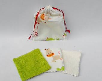 Washable wipes for baby with a pouch.