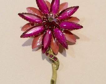 Mid Century Prong Set Rhinestone And Enamel Flower Pin