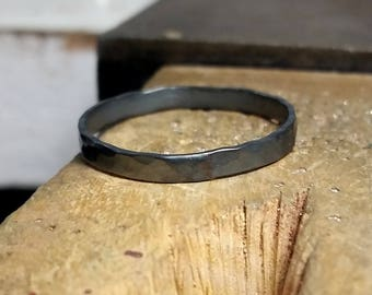 Men's silver ring, silver or black, hammered surface, narrow, small. Unisex. Men's, women's.