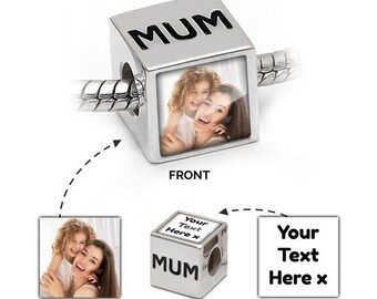 Personalised MUM | Photo Bead in 925 Silver | MUM Message | Pandora Bracelet Compatible - Gift Jewellery Mothers day gift