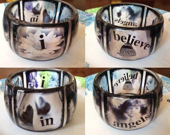 "Bangle resin bracelet, Hand crafted, transparent, ""I Believe In Angels"", Size: XL 70 mm diameter opening, 48 mm tall."