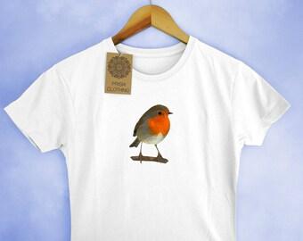 Robin Low Poly Ladies T-Shirt