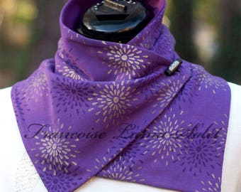Purple Neck Warmer Purple Scarf Women Hand Printed Scarf Button Scarf Artsy Scarf Gift for Her Cozy Neck Warmer Christmas Gift Birthday Gift
