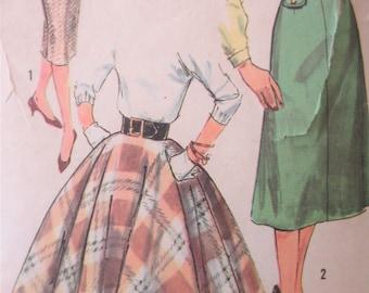 Simplicity 2654 Sewing Pattern, Vintage 1950s Skirt Pattern, Sheath Skirt, Flared 4 Gore Skirt, Circle Skirt, Waist 24, 1950s Sewing Pattern