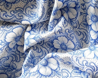 vintage blue floral fabric french vintage fabric 1930s french fabric patchwork fabric quilting fabric 209