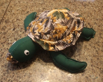 Brown camo stuffed sea turtle/plushie