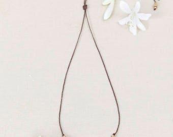 Macrame necklace, handmade jewelry, brass necklace