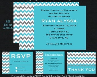 Turquoise and Grey Chevron Bat Mitzvah Invitation - Reply Card - Insert Card - Thank You Note Card - USE for ANY EVENT