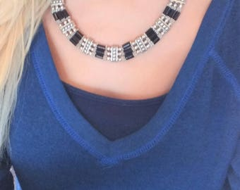 Adjustable Silver Tone and Black Beaded Collar Necklace