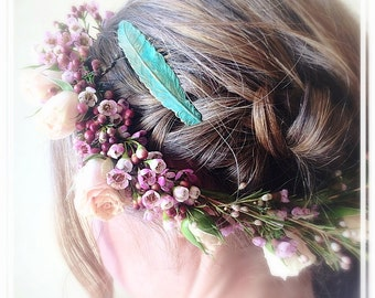 Verdigris Feather Hair Comb - Gold Hair Comb - Green Patina - Woodland Hair - Whimsy - Bridal Hair Accessory