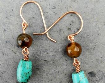 Tigers Eye Turquoise Dangle Earrings, Natural Stone, Chakra Stones, Healing Stones, Precious Stones