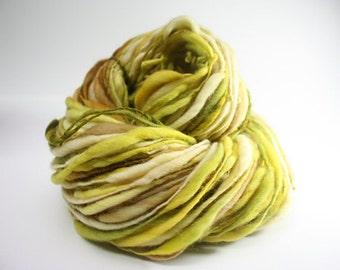 Thick and Thin Merino Handspun Wool Slub Yarn tts(tm) Hand dyed xlr Pollucite 02