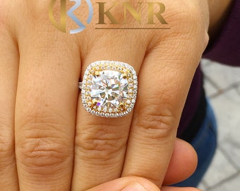 Huge Women's 14k solid white gold cushion cut forever one moissanite and natural diamond engagement ring Bridal Wedding Halo 6.50ctw