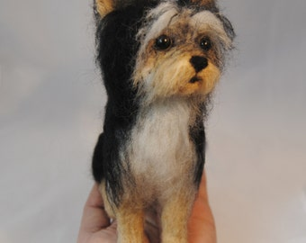 Yorkie Puppy, Needle Felted Dog, Custom Made Dog, Yorkshire Terrier or any other breed - made to order